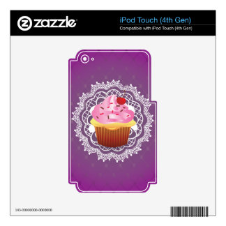 Purple Doilies and Cupcake Skin For iPod Touch 4G