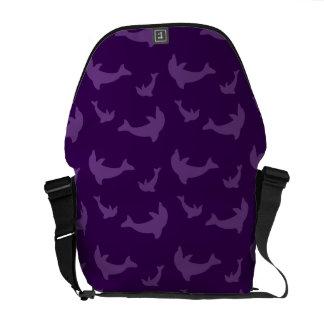 Purple dolphin pattern messenger bag
