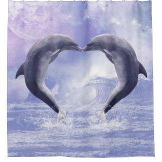 Purple Dolphins Kisses Shower Curtain