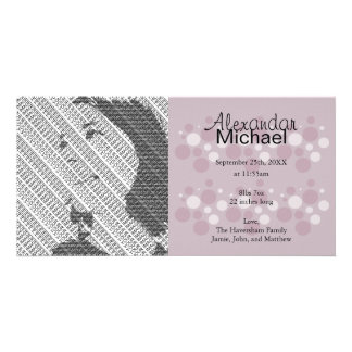 Purple Dots Baby Birth Announcement Photo Cards