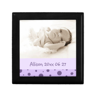 Purple Dots Custom Baby Photo Keepsake Giftbox Jewelry Box