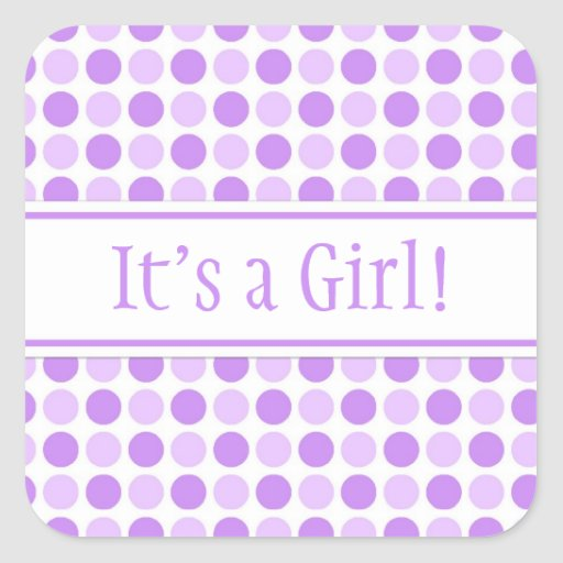purple dots its a girl baby shower stickers
