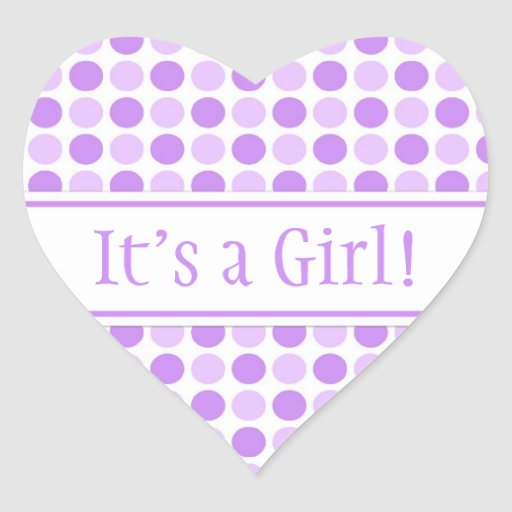 Purple Dots It's a Girl Baby Shower Stickers | Zazzle