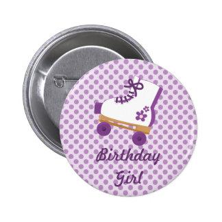 Purple Dots Roller Skate Birthday Button