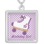 Purple Dots Roller Skate Birthday Girl Necklace