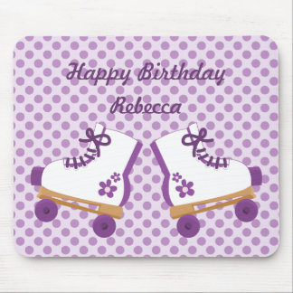 Purple Dots Roller Skate Birthday Mousepad