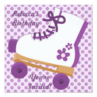 "Purple Dots Roller Skate Birthday Party Invitation 5.25"" Square Invitation Card"