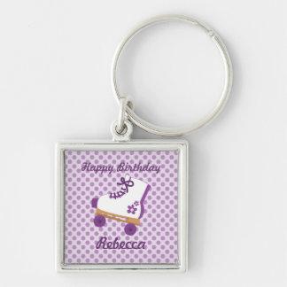 Purple Dots Roller Skate Birthday Premium Keychain