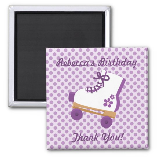 Purple Dots Roller Skate Birthday Square Magnet