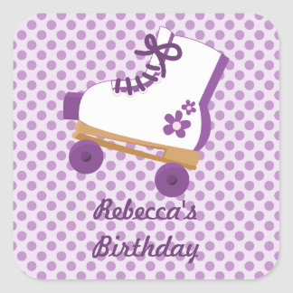 Purple Dots Roller Skate Birthday Square Stickers