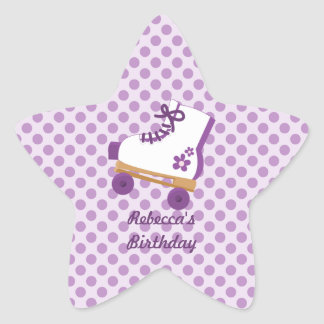 Purple Dots Roller Skate Birthday Star Stickers