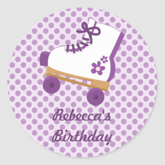 Purple Dots Roller Skate Birthday Stickers