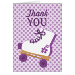 Purple Dots Roller Skate Birthday Thank You Card
