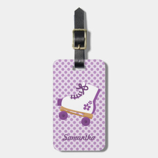 Purple Dots Roller Skate Tag For Luggage