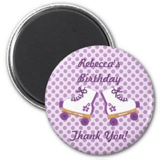 Purple Dots Roller Skates Birthday Button Magnet