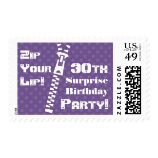Purple Dots SURPRISE 30th Birthday Zip Your Lip Postage