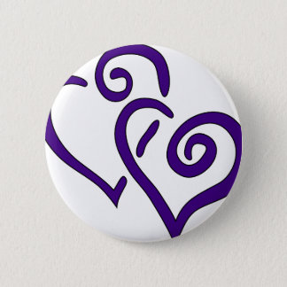 Purple Double Heart Pinback Button