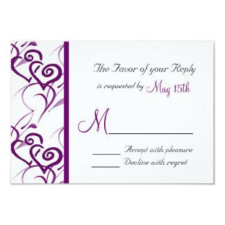 Purple Double Hearts Swirl Vines Wedding RSVP Card