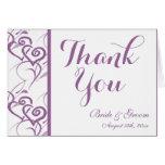 Purple Double Hearts Swirl Wedding Thank You Cards