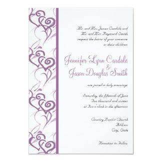 "Purple Double Hearts Swirls Wedding Invitations 5"" X 7"" Invitation Card"