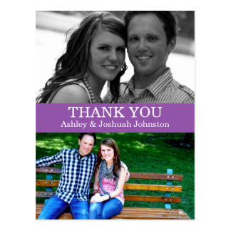 Purple Double Photo Thank You Wedding Post Cards