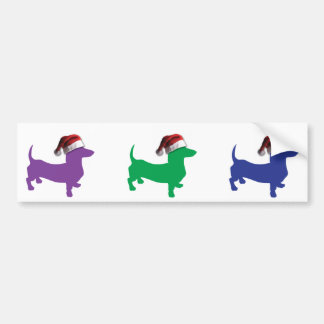 Purple Doxie with Santa Hat Bumper Sticker