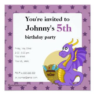 Purple dragon cartoon birthday print invitations