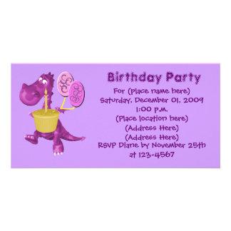 Purple Dragon Cupcake Balloons Birthday Invitation