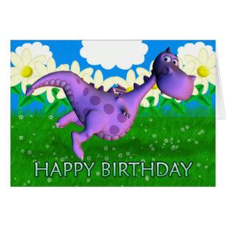 Purple dragon dancing in the Garden Birthday Card