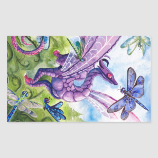 Purple Dragon Dragonfly spring artwork Rectangular Sticker