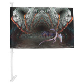 Purple Dragon Flies in front of a illuminated cave Car Flag