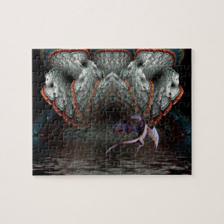 Purple Dragon Flies in front of a illuminated cave Jigsaw Puzzle
