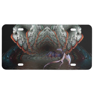 Purple Dragon Flies in front of a illuminated cave License Plate
