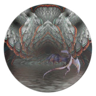 Purple Dragon Flies in front of a illuminated cave Melamine Plate