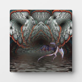 Purple Dragon Flies in front of a illuminated cave Plaque