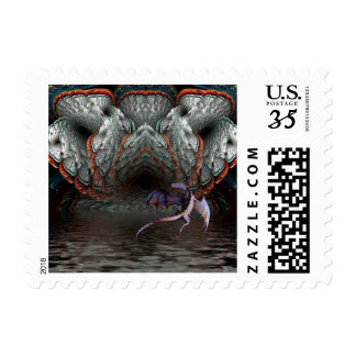 Purple Dragon Flies in front of a illuminated cave Postage