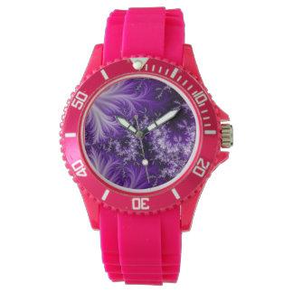 Purple Dragon Fractal Watch, Pink Silicone Strap Watch