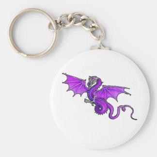 Purple Dragon Basic Round Button Keychain