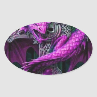 Purple Dragon Oval Sticker