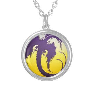 Purple Dragon Round Pendant Necklace