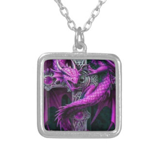 Purple Dragon Square Pendant Necklace