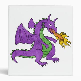 purple dragon throwing flames binder