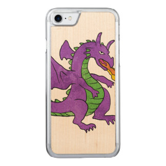 purple dragon throwing flames carved iPhone 7 case
