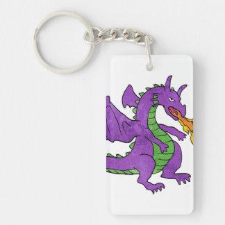 purple dragon throwing flames keychain