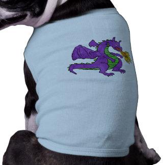 purple dragon throwing flames shirt