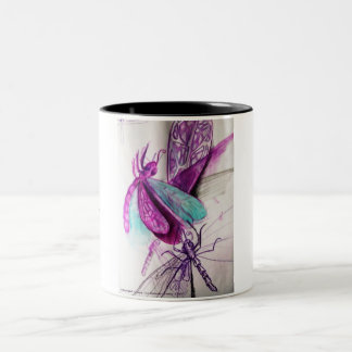 Purple Dragonflies Collection Two-Tone Coffee Mug