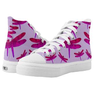 Purple Dragonflies on Purple Background High-Top Sneakers