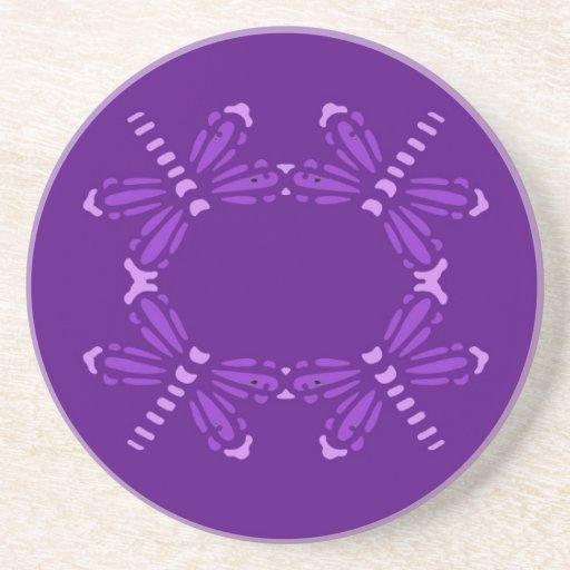 Purple dragonflies on purple, drink coaster