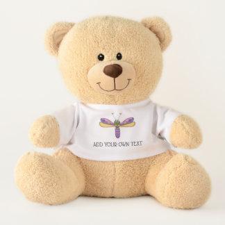 Purple Dragonfly Add Your Own Text Teddy Bear