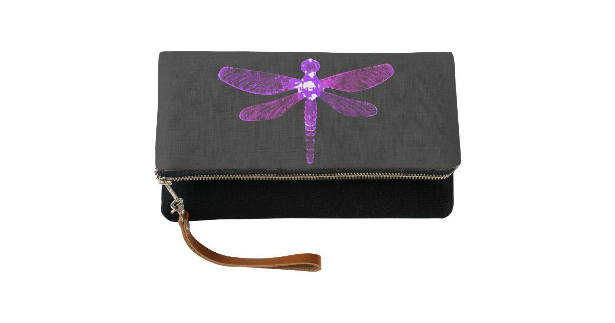 Purple Dragonfly Clutch